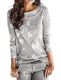 SHOBDW Mujeres Camiseta de Manga Larga con Cuello Redondo y Camisa Impresa Moda Casual Primavera Otoño Blusa Algodón Suelto Tops Sudadera Pullover Camiseta Elegante