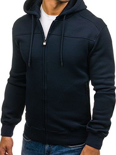BOLF – Felpa – Cappuccio – Con cerniera – Sweat-shirt – Hoodie – Motivo – Uomo – 1A1 Nero
