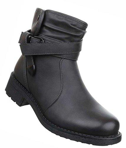 Damen Boots Schuhe Stiefeletten In Used Optik Schwarz Grau Braun 36 37 38 39 40 41 Grau