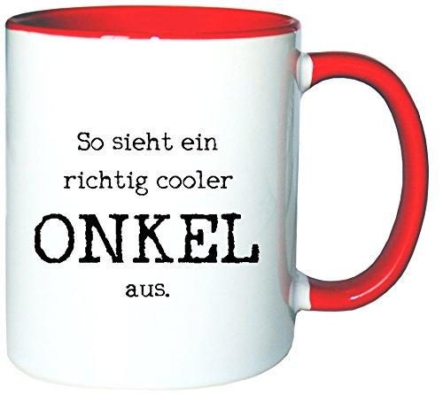 Mister Merchandise Kaffeetasse Becher So sieht ein richtig cooler Onkel aus Uncle Öhme, Farbe: Weiß-Rot