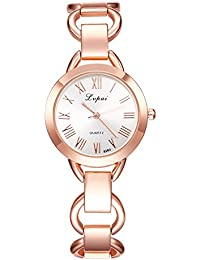 naivo Women's Quartz Stainless Steel and Plated Watch, Color:Rose Gold-Toned (Model: 1)