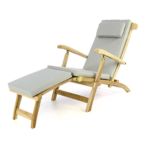 Divero eleganter Deckchair Florentine Liegestuhl Steamer Chair Teakholz unbehandelt inkl. Liegenauflage mit Kopfteil hellgrau wasserabweisend