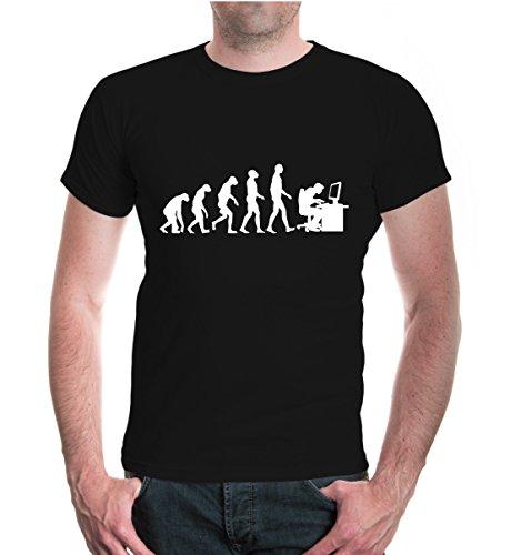 buXsbaum® Herren Unisex Kurzarm T-Shirt bedruckt Evolution of Computer Scientist | Wissenschaftler PC IT | M black-white Schwarz