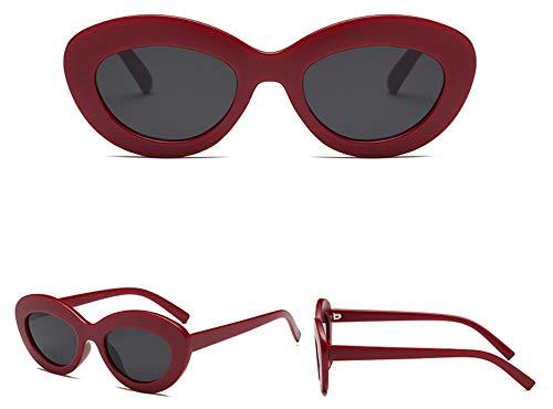 WSKPE Sonnenbrille Oval Cat Eye Sonnenbrille Dicke Frame Brille Dunkel Rot Gestell Schwarz Objektiv