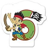 """Zahlenkerze """"6"""" Jahre * JAKE & THE NEVERLAND PIRATES * für Kindergeburtstag // Kinder Geburtstag Party Numeral Birthday Candle Kuchen Deko Motto Disney Nimmerland Piraten sechs Jahre"""