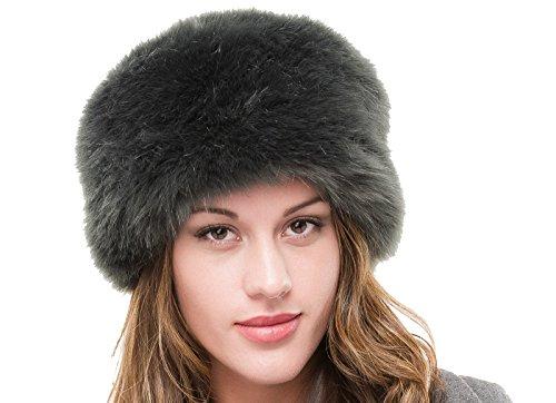 LADIES SUPERB QUALITY SLATE GREY FAUX FUR WINTER RUSSIAN COSSACK CLOCHE