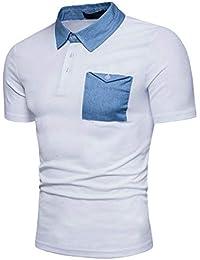 Poloshirt Herren Sommer Sport Denim Color Block Polohemd Kurzarm Bekleidung  Mit Brusttasche Daily Casual Revers Tshirt 3f8b472a74