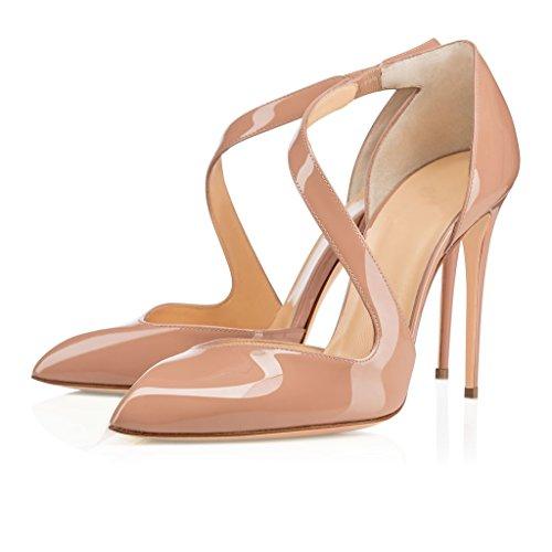 EDEFS Damen Militanu High Heel Pumps Mary Jane Geschlossene Spitze Zehen Übergröße Schuhe Beige