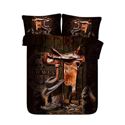 G'z Cowboy-Hut und Cowgirl Lederstiefel Bettbezug-Set 3-teiliges Bettwäscheset mit 2 Kissen Shams Western Tagesdecke Kids Teens Erwachsene Bettdecke (Farbe : Black Duvet, größe : Full/Queen) -