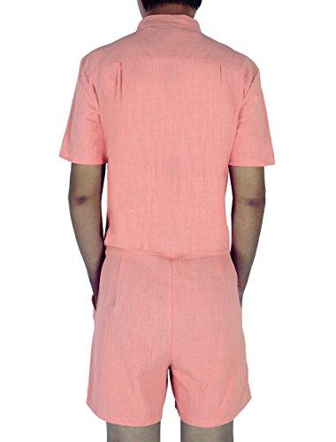 Leapparel Herren Kurzarm Zipper Jumpsuit Einfarbig Overall Mit Großartigen Halsband und HipHop Beiläufig Kurz Frachthosen Spielanzug Ein Stück Orange
