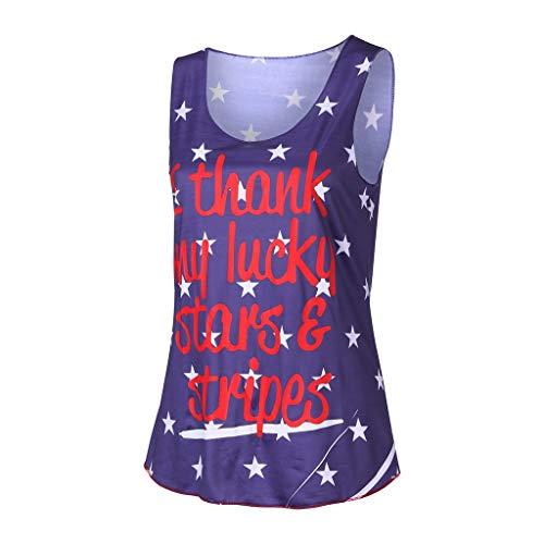 New Look Tops pour Femmes, Top Mode Femme T-Shirt de Drapeau d'été d'été de Loisirs Top sans Manches imprimé|Tops pour Femmes UK