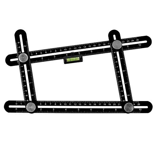 Werkzeug, Lhedon Premium Aluminium Alu Lineal Winkelschablone mit Angehängte Wasserwaage, Multi Winkel Messlineal for Erbauer Carpenter Handwerker Architekt ()