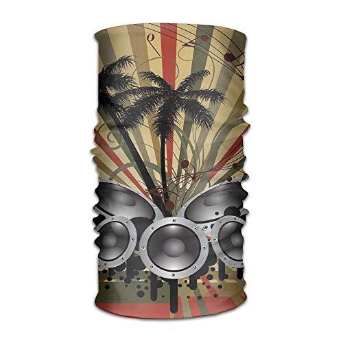 KAKICSA Womens Mans Turban Palm Trees Striped Ombre Backdrop Music Loudspeaker Art Show Kerchief