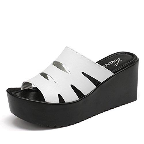 Confortevole Pantofole spesse di cuoio Le donne portano i pattini sdrucciolevoli di modo Pendente esterno con i pistoni freddi I pistoni femminili di estate (2 colori facoltativi) (formato facoltativo B