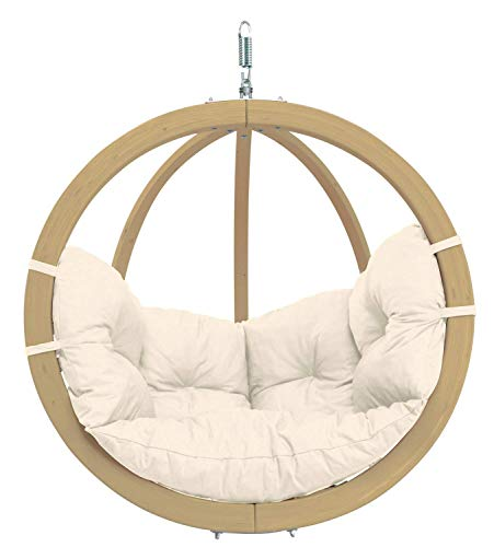 AMAZONAS Hängesessel in edlem Design Globo Chair Natura aus FSC Fichtenholz bis 120 kg in Weiß