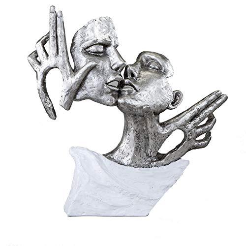Formano Ausgefallene Deko Figur, Skulptur Kuss Paar Büste in modernem weiß Silber gehalten. Trendige Wohnaccessoires in edlem Design 36 cm