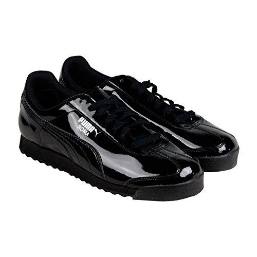 PUMA Men's Roma Patent Sneakers (8.5 D(M) US, Black/White) - Ferrari Suede Sneakers
