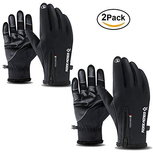 ATNKE 2-Pack Touchscreen Handschuhe,Fahrrad-Handschuhe Wasserdichte Winter Outdoor Bike Laufen Klettern Skihandschuhe für Männer und Frauen Einstellbare Größe, S-2XL/Schwarz-2Pack/S