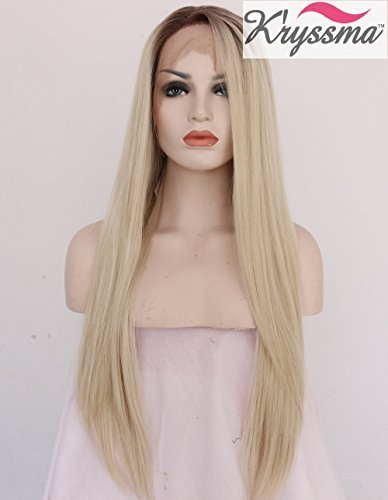 K'ryssma Ombre Blonde Dark Roots Straight Long Synthetic Hair Glueless Lace Front Wigs for Women Half Hand Tied Wig Heat Safe 22 inches