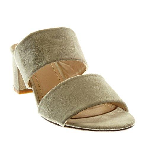 Angkorly Chaussure Mode Sandale Mule Slip-On Femme Lanière Talon Haut Bloc 5.5 CM Beige