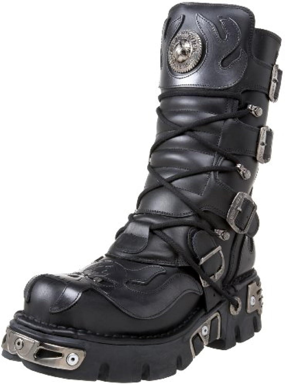 New Rock Boots @ Metal Schuhe @ Stiefel Rock @ Punk Goth @ Schwarz  Silber (Black  Silver)  Schwarz  43 EU
