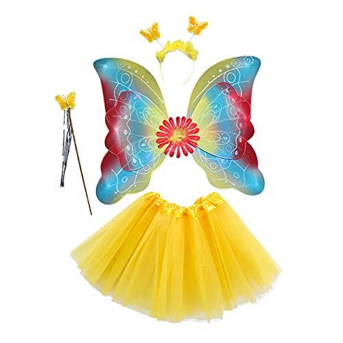 EZSTAX 4pcs LED Leuchtend Schmetterling Kostüm Halloween Cosplay Prinzessin Elfe Flügel mit Zauberstab für Party Karneval Fasching Fastnacht Halloween,Gelb 2#