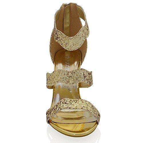 Essex Glam Damen Hohen Absatz Fasselriemen Schnalle Stiletto Peep Toe Sandalen Gold Glitzerstaub