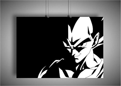 Poster Drangon Ball Z Super Vegeta Noir Et Blanc Manga Wall