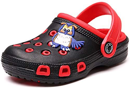 Kinder Clogs Pantoletten Mädchen Jungen Sandalen Slip On Outdoor Flach Hausschuhe Geschlossene Strand Sandale Schuhe Sommer Schwarz(Red) 33 EU/34CN
