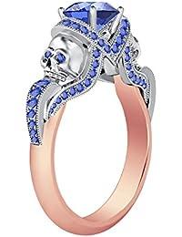 Silvernshine 1.52Ct Tanzanite CZ Diamond 14K Rose & White Gold PL Engagement Two Skull Desing Ring