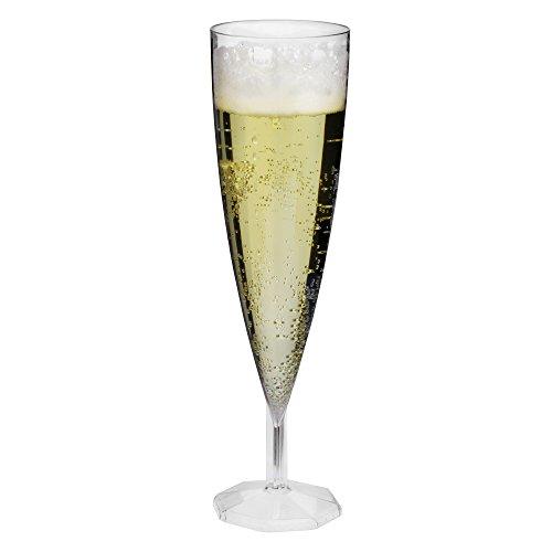 Lot de 12 flûtes à champagne jetables en plastique transparent 140 ml