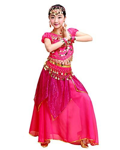 Grouptap Bollywood niños Indio árabe Princesa Danza del Vientre Ropa Elegante Fiesta Falda Vestido Traje Rosa niñas niños Traje de Baile (Rosa, 130-155 cm)