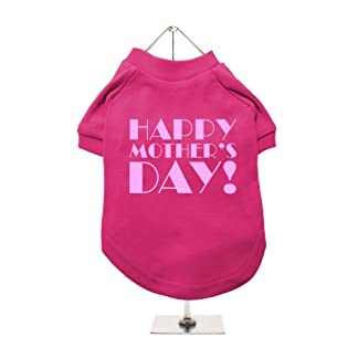 "''Mothers Day: Happy Mothers Day'' UrbanPup Dog T-Shirt (Fuschia / Pink) (X-Small - Body Length: 8"" / 20cm) 1"
