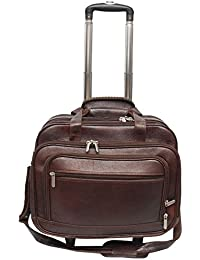Leather Bags   More Genuine Leather Brown Colour Cabin Laptop Stroller  Trolly Bag 833e76cd164b3