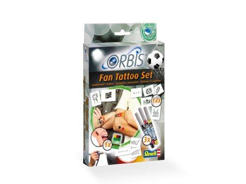 Orbis Airbrush, Orbis Tattoo-Set Deutschland Fan Set, Orbis Airbrushfarben für die Haut, mit Tattoo-Farbpartonen, selbstklebenden Motiven, Schminkstift, Dermatologisch getestet, schwarz rot gelb 30306 -