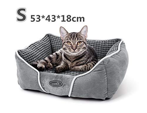 Pecute Coussin Chat Chien Panier Lit pour Chat Chien Animal de Domestique 53*43*18cm Amovible Coussin Lavable en Machine Gris