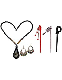 Combo of beautiful Pendent Black Beads Necklace with Jhumki(Free Size) with Juda Sticks(Pack of 5)