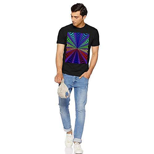 Baumwoll-T-Shirts für Herren,Visual Pattern Musterdesign gedruckt O-Hals Halbe Ärmel Lockere Passform Baumwolle T-Shirt für Männlich Sanft Clothes Unterstützung für DIY(XX-Large Black) -
