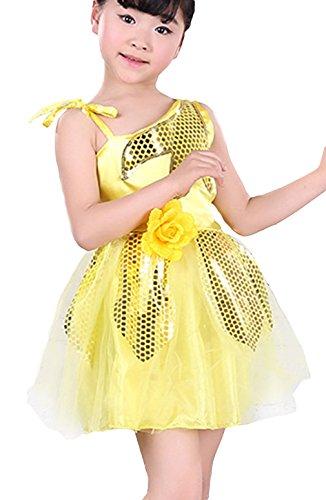 EOZY Robes Enfant Filles Danse Tutu Paillettes Sans Manche Justaucorps Jaune 150