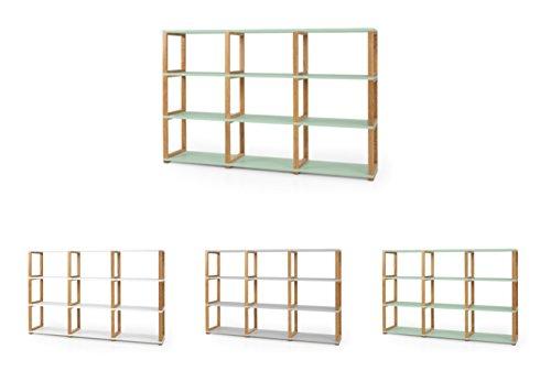 Tenzo 2333-076 ART Designer Etagère/Séparation de pièce Panneaux de particules/Chêne massif Sauge/Chêne 178 x 36 x 118 cm
