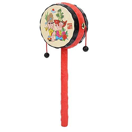 Zerodis- Tambor de traqueteo de Juguete Tradicional Chino Rojo, Juguetes Infantiles de Dibujos Animados clásicos de la Primera Infancia Instrumento Musical Educativo para niños
