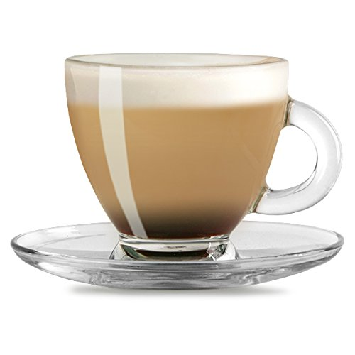 Entertain Cappuccino Cups & Saucers 6.9oz / 195ml - Set of 2 | Glass Coffee Cups, Coffee Glasses Test