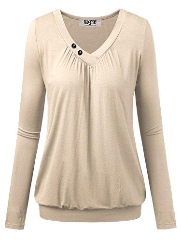 DJT Damen Basic V-Ausschnitt Langarmshirt Falten Casual mit Knopf T-Shirt Apricot Large