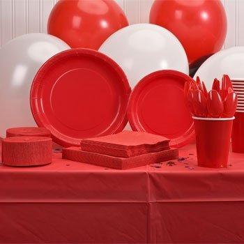 y Supply Kit - RED - Tablecloth, Plates, Napkins, Cups, Streamers & Utensils (Serves up to 12) by Perfect Party ()