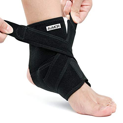 4UMOR Sprunggelenkbandage, Knöchelbandage Sport mit Klettverschluss, Stützt den Fuß beim Sport wie Handball, Fußball, Volleyball für Damen, Herren und Kinder L
