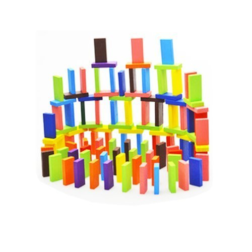 Eshowy 120pcs Colorful Wooden Dominos Blocks Set, Kids Game Educational Play Toy, Domino Racing Toy Game