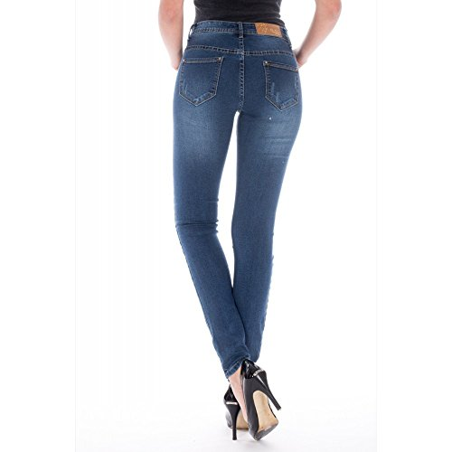 Ideal Shoes Damen Jeanshose Blau