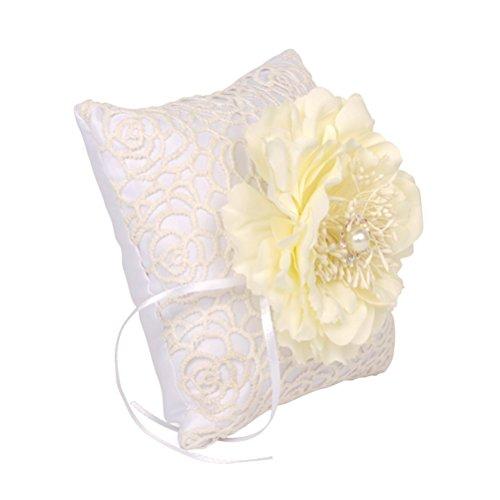 OULII Hochzeit Ring der Kissen Dekorative Perle Blumen Ring der Kissen - Perlen Dekorative Kissen