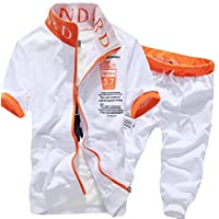 GAGA Mens Tracksuit Short Sleeve Top Shorts Summer Sport 2 Piece Suit Set ابيض Large