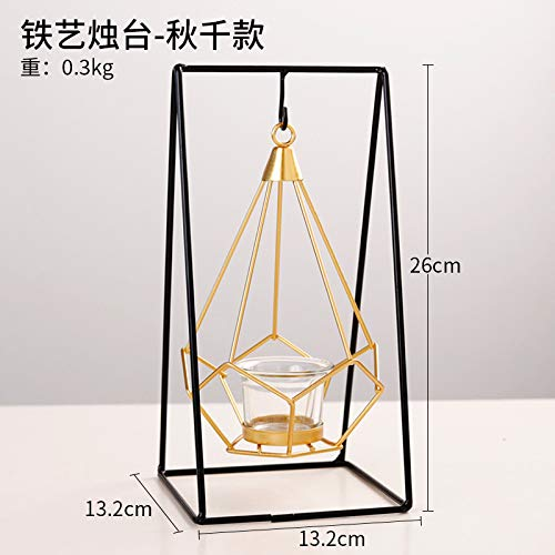 Kerzenhalter Swing (Golden Geometric Wrought Iron Hanging Candlestick Hauptdekoration Kerzenhalter Dekoration Metall Candlestick Swing)